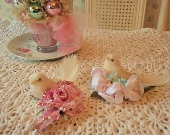 Dove Ornaments - Shabby Pink ROSES, glitter