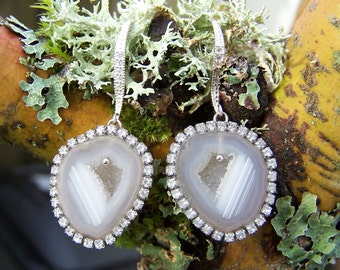 Tabasco geode Geode,bezel with  crystals, sterling silver CZ crystal earwire, earrings