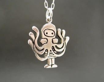 Sterling Octopus Necklace - Silver Silver Octopus Girl Pendant