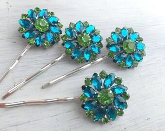 Turquoise and Peridot Rhinestone flower hair pin - Sold Individually