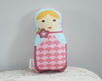 Doll stuffed toy babushka matryoshka PETUNIAS pillow plush softie baby girl gift photo prop stuffed pink brunette blond hair present gift