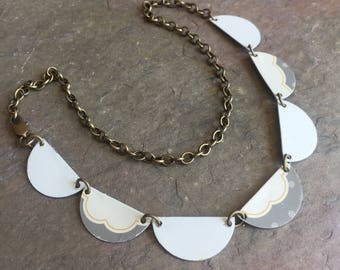 Harbinger Collection Scallops Necklace in Mixed Tin Grey and White Scallops Edition OOAK