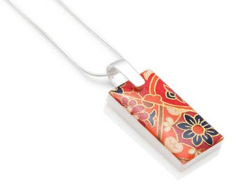 Marrakech Moroccan Pattern Chiyogami Resin Tab Pendant Snake Chain Laser Cut Acrylic Necklace Gift for Her