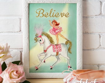 Printable Ballet Dancer Wall Art - Ballerina standing on pony - Digital file to print and frame - decor for nursery or child's room - pastel