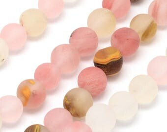 One Strand Watermelon Stone Frosted Round Beads (8mm)