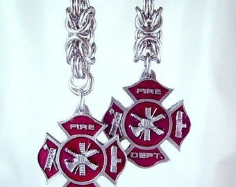Fire Badge Red Charm Earrings Wife Mom Chainmaille Stainless Steel Rings Fire Dept Fighter Dangle Steel - Sterling Ear wires Women's Fashion