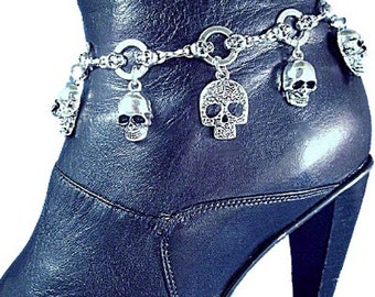 Skull Willie G Style Motorcycle Boot Jewelry Boot chain, Boot Accessory Boot Bracelet Boot Bling Biker Skulls Motorcycle Rider Skull Chain