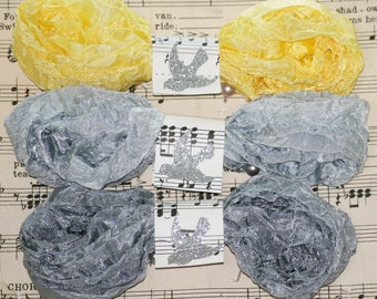 Seam Binding, Crinkled, 18 yds, TRENDS, Yellow Ribbon, Grey Ribbon, Vintage Style, Shabby Ribbon, Bias Tape, Gray Ribbon, Bluebird Lane