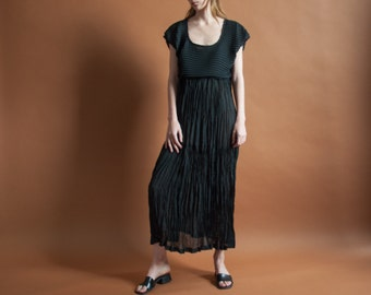 crinkled micropleat black maxi dress / minimalist dress / semi sheer dress / s / 2101d / B3