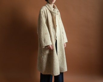 60s speckled oatmeal mohair coat / wrap collar coat / s / m / 2106o / R4