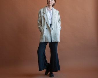 chevron print oversized jacket / white wool short coat / minimalist coat / s / m / 544o / R5