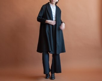 black wool swing coat / black minimalist wrap coat / oversized winter coat / s / 2149o / R4