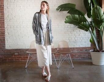 silver metallic blazer / oversized dolman slv jacket / minimalist boyfriend blazer / s / m / 2204o