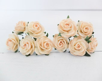 "10 25mm ivory pale peach mulberry roses - 1"" paper flowers with wire stems"