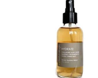 HYDRATE Facial Toner. Face Toner. Face Mist. Facial Mist. Hydrating Mist. Hydrating Tonic. Natural Organic Skin Care. Vegan.