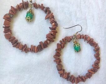 SALE! Goldstone Beaded Hoop Earrings