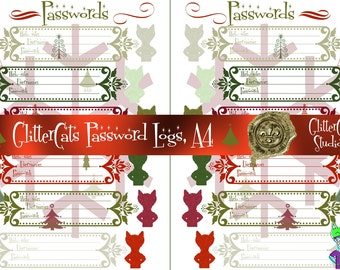 A4 Digital Downloadable Printable Christmas Gifts Christmas Password Planner red and green cats glitter Logs password keepers for web-sites