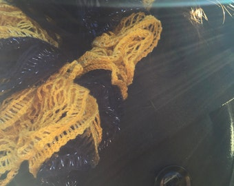 The Hufflepuff - Handknit Black and Yellow Ruffle Fashion Scarf