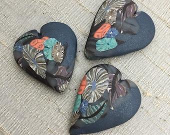 Folk Forest Heart Bead - Midnight Blue