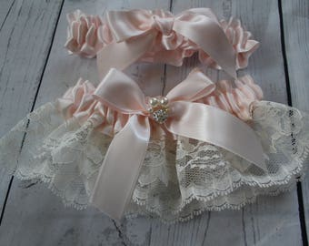 Ivory Lace and Blush Satin Garter Set with Blush Satin Bows-Rhinestone Cluster and Pearl Accent