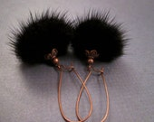 RESERVED for Cristina ONLY - Black Fur Earrings, Real Mink and Copper Dangle Earrings, FREE Shipping U.S.