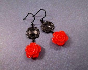 Flower Earrings, Bright Red Rose, Gunmetal Black, Silver Dangle Earrings, FREE Shipping U.S.