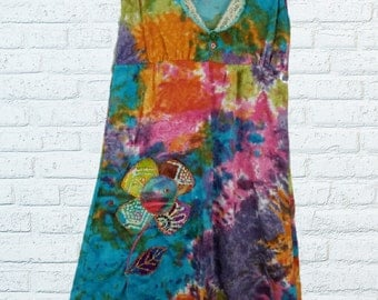 Tie dye Boho Hippy Summer Dress M Medium Floral Flower
