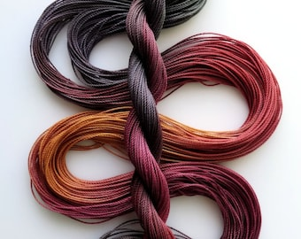 "Size 20 ""Knitty Gritty"" hand dyed thread 6 cord cordonnet tatting crochet cotton"