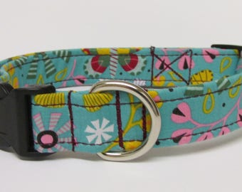 Flowers and Butterfly's Printed Handmade Dog Collar on a Soft Bluish Grey/Gray