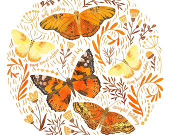 Orange Butterfly Art Print - square digital illustration by Stephanie Fizer Coleman