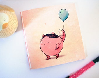 Me and my balloon - square illustrated notebook - made with recycled paper