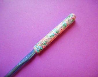 Polymer Clay Covered Crochet Hook, Boye Size K