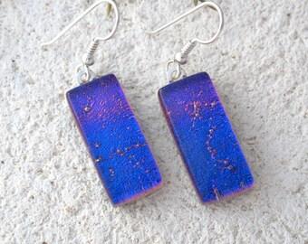 Fuchsia Pink Earrings, Dichroic Earrings, Glass Earrings, Fused Glass Jewelry, Dichroic Jewelry, Dangle Drop Earrings, Sterling, 111216e100