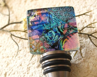Dichroic Glass Bottle Stop, Fused Glass, Stainless Steel Cork, Wine Bottle Cork, FDA Kitchen Grade, Made in USA, Bar Accessory,, 112216bc1