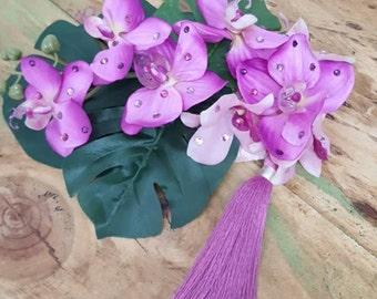 Tropical Orchid dreams fascinator/floral headpiece burlesque pin up