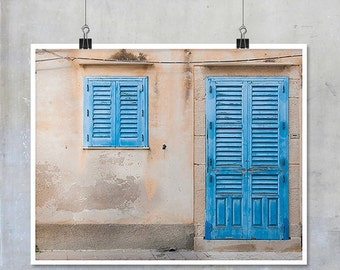 Door and Window Photograph Sicily Italy - pink wall, blue door and shutters, shabby chic grunge abstract rough textured  10x8 11x14