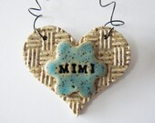 Mimi Ornament, year-round, ceramic clay, heart shaped - personalized, handmade, ready to mail