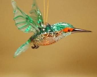 Handmade Blown Glass Figurine Art Blue and Red Hanging Bird KINGFISHER Ornament