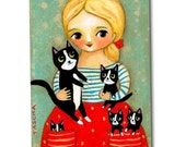 TUXEDO CAT and kittens Cat folk art cute blond girl with cats ORIGINAL painting by artist Tascha