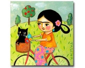 Frida Kahlo and Black Cat folk art ORIGINAL painting cute bicycle art bike ride to the vet artwork by artist TASCHA