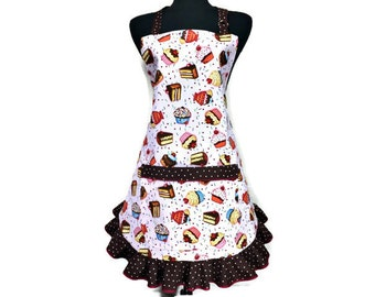 Retro Cupcake Apron for women with chocolate sprinkle ruffle , Fully adjustable , Pin up girl bakery decor , Cupcake kitchen