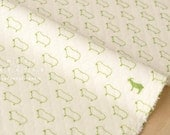 Japanese Fabric quilted knit - sheep and goat - cream, green - 50cm