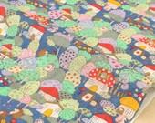Japanese Fabric Kobayashi hedgehog village - blue - 50cm