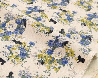 Japanese Fabric Yuwa Cat Bouquet canvas - fat quarter