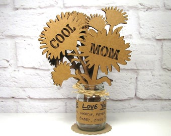 Gifts for Mother COOL MOM - Mothers Day Birthday Corrugated Cardboard Flowers Bouquet In Mini Mason Jar