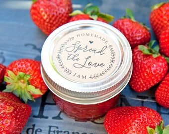 Spread the Love Stickers - Ball Jam Jar Labels - Homemade Jelly Favor - Wedding Favors, Shower Favors - 20 Jar Labels per pack