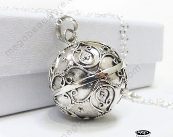 20mm Bali Harmony Ball Pendant 925 Sterling Silver Pendant Necklace chain P85