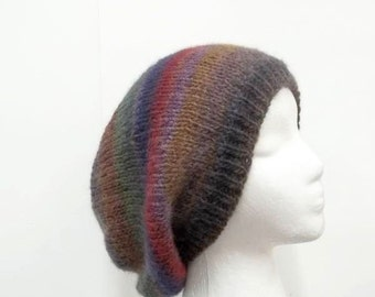 Knitted slouch beanie hat colorful hand knitted   5171