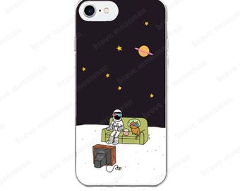 iPhone 7 Case Astronaut Brave Moonman 3D Glasses Clear iPhone 6s Case iPhone 7 Plus Space Kitty Cute Phone Case Gift Idea