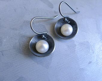 Cupped Bowl Dangle Earrings with Freshwater Pearls in Oxidized Blackened Sterling Silver